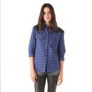 """Torn by Ronny Kobo """"Roby"""" Plaid Shirt Size Small"""